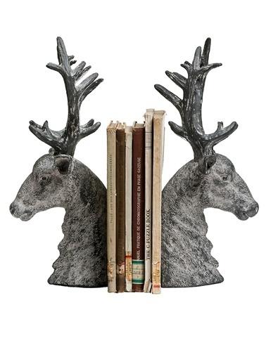 Warm Design Geyik Motifli Kitap Düzenleyicisi Gri